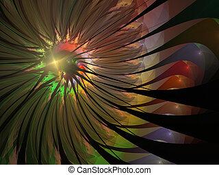 虹, 花, プリント, 柔らかい, イメージ, 網, フラクタル, 優しい, 発生させる, コンピュータ, デザイン, 背景, 概念, 花, posters., ロゴ