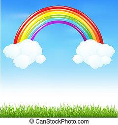 虹, 草, カラフルである