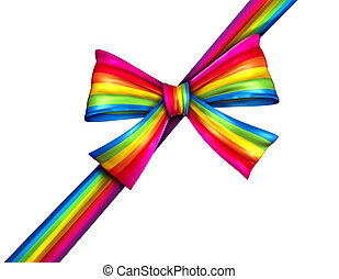 虹, 贈り物, 対角線, リボン, 弓
