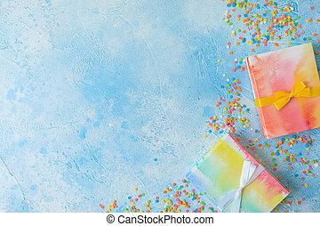 虹, 贈り物, 平ら, 箱, 紙ふぶき, 青, バックグラウンド。, キャンデー, 位置