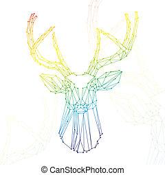 虹, 頭, 鹿, 白い背景