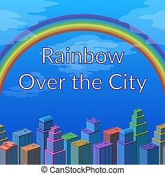 虹, 風景, 都市