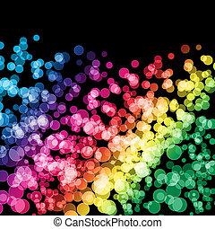 虹, 黒い背景, ライト
