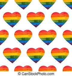 虹, card., 心, ペイントされた, pattern., seamless, イラスト, 手, lgbt, ベクトル, hearts., rainbow., 許容, 日