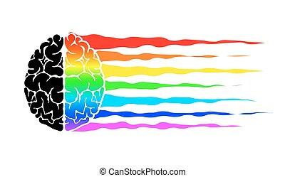 虹, community., 抽象的, 脳, 旗, lgbt., 人間, ロゴ, シンボル