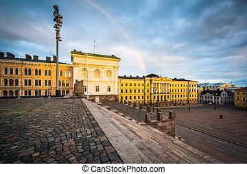 虹, finland., 広場, 上院, 上に, ヘルシンキ, senaatintori, 日没