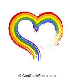 虹 grunge, 心, 隔離された, 共同体, 形, lgbt, 旗, ブラシの 打撃, 白, 印