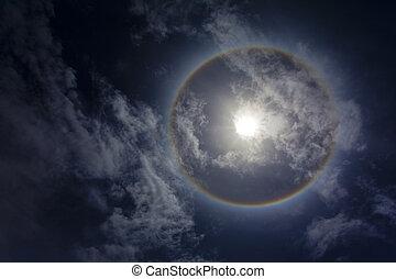 虹, sircular, 雲, 太陽