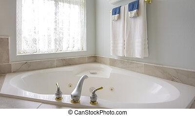 蛇口, アーチ形にされる, 金, パノラマ, ∥横に∥, 窓, カーテン, 浴槽, 銀