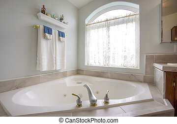 蛇口, アーチ形にされる, 金, ∥横に∥, 窓, カーテン, 浴槽, 銀