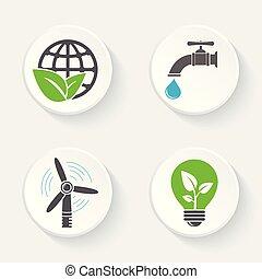 蛇口, エコロジー, アイコン, eco, 葉, set., 低下, 水, ライト, 世界, bulb., 風車