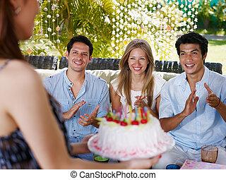 蛋糕, 党, 生日, 朋友