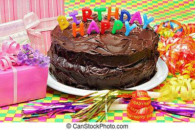 蛋糕, 愉快, 生日, 蜡燭, 巧克力