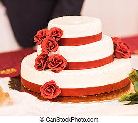 蛋糕, 玫瑰, 紅色, 婚禮