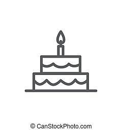 蛋糕, 线, 白的背景, 图标