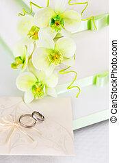 蛋糕, 花, 蘭花, 細節, 婚禮