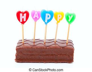 蛋糕, 蜡燭, 生日, 愉快, 巧克力