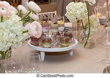蛋糕, 食物, 備辦, 婚禮, 香檳酒眼鏡