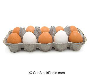 蛋, 在, a, 紙盒, 在懷特上, 背景