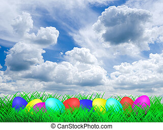 蛋, 復活節, 草地