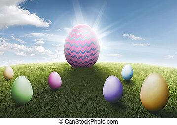 蛋, 復活節, 草地, 鮮艷