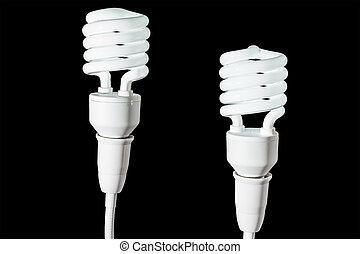 蛍光, 電球, 隔離された, ライト