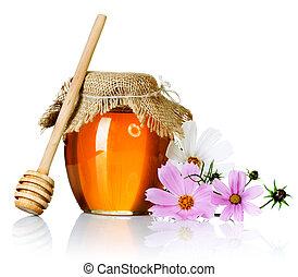 蜂蜜の瓶, 上に, 白