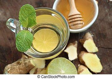 蜂蜜, お茶, レモン, ショウガ