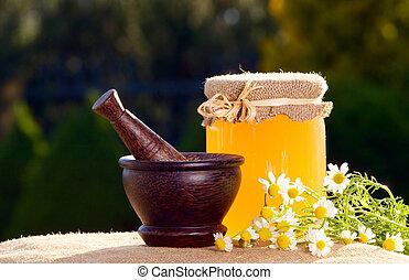 蜂蜜, そして, 木製である, すりこぎ, ∥で∥, chamomiles