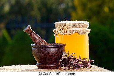 蜂蜜, そして, 木製である, すりこぎ