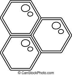 蜂蜜, アイコン, スタイル, 櫛, アウトライン