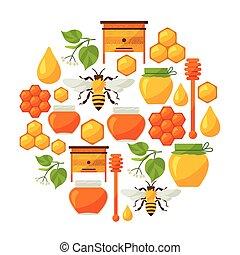蜂蜜, オブジェクト, デザイン, 背景, 蜂