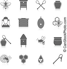 蜂蜜, セット, 黒, 蜂, アイコン