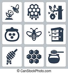 蜂蜜, ベクトル, セット, 関係した, アイコン