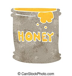 蜂蜜, ポット, レトロ, 漫画