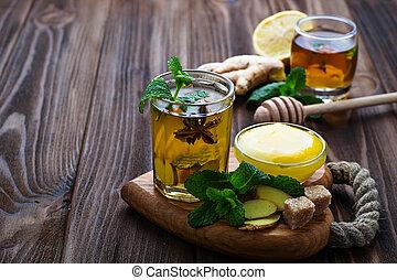 蜂蜜, ミント, 飲みなさい, ショウガ, レモン