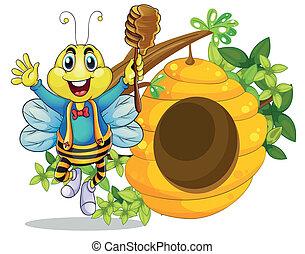 蜂蜜, 开心, 棍, 握住, 蜜峰