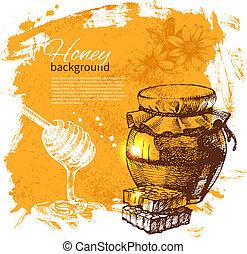 蜂蜜, 背景, ∥で∥, 手, 引かれる, スケッチ, イラスト