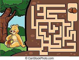 蜂蜜, 迷路, ゲーム, :, 熊