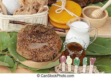 蜂蜜, 關心, 健康, 牛奶, 蜂窩