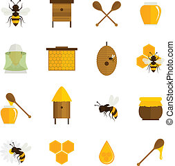 蜂, 蜂蜜, アイコン, 平ら, セット