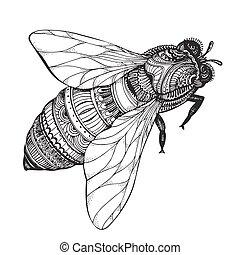 蜂, 蜂蜜, zentangle, 引かれる, 手, style.