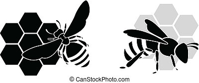蜂, 黒, 隔離された, w, シルエット