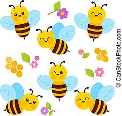 蜂, collection., かわいい, ベクトル, イラスト