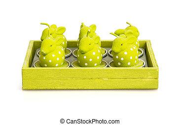 蜡烛, 在中, the, 形状, 在中, 复活节bunnies
