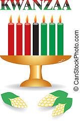 蜡燭, 七, 矢量, kwanzaa