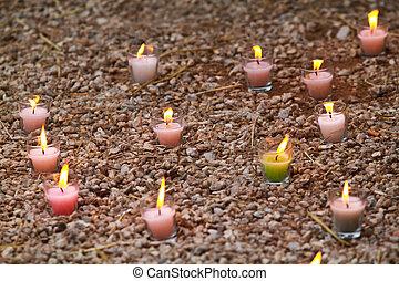 蜡燭, 在, the, 草, 在, a, 公園