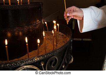 蜡燭, 婦女, 點燃, 手, 教堂