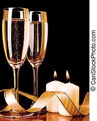 蝋燭, シャンペン, 2, ガラス