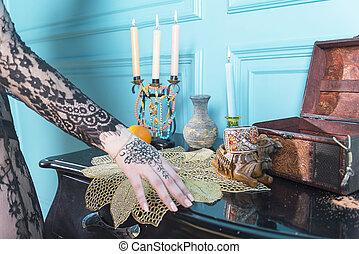 蝋燭, テーブル。, びん, 胸